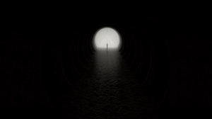 Preview wallpaper cave, circle, darkness, exit, silhouette