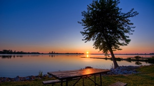Preview wallpaper benches, coast, decline, evening, lake, romanticism, table, tree