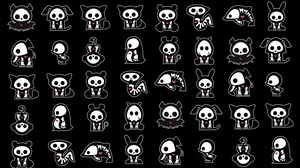 Preview wallpaper black, drawing, figurines, white