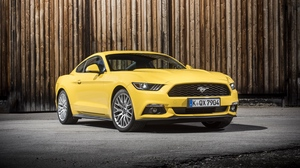 Preview wallpaper eu-spec, ford, gt, mustang, side view, yellow
