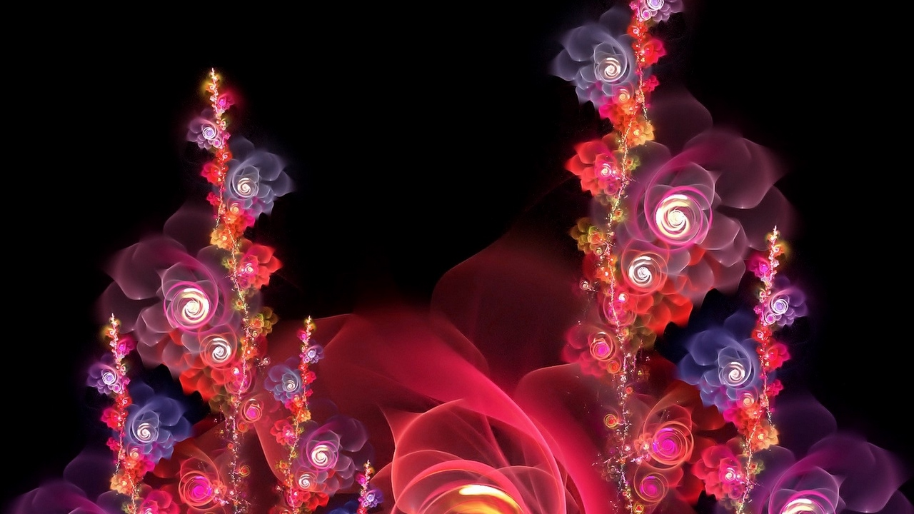 fractal red bright flowers