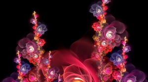 Preview wallpaper bright, flowers, fractal, red