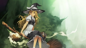 Preview wallpaper broom, girl, hat, witch, witchcraft