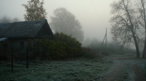 Preview wallpaper country, fog, gloomy, haze, house, road, trees