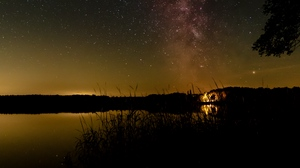 Preview wallpaper grass, lake, milky way, night, starry sky
