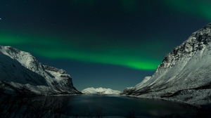 Preview wallpaper lake, landscape, mountains, night, northern lights