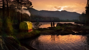 Preview wallpaper evening, girls, lake, mountains, pipe, silhouettes, tent, wood