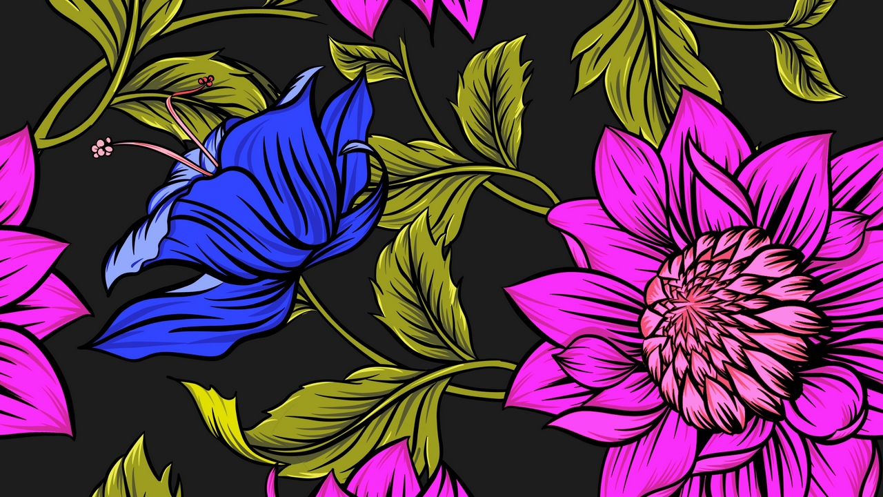 leaves flowers petals patterns bright colorful
