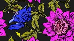 Preview wallpaper bright, colorful, flowers, leaves, patterns, petals