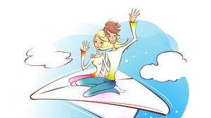 Preview wallpaper airplane, art, couple, drawing, flight, love, sky