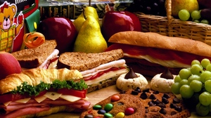 Preview wallpaper cheese, delicious, meat, sandwiches, vegetables