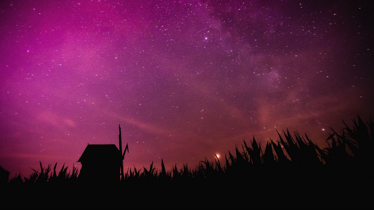 mill outline starry sky