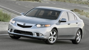 Preview wallpaper 2010, acura, cars, gray, nature, road, side view, style, traffic, tsx