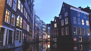 Preview wallpaper amsterdam, buildings, canal, netherlands