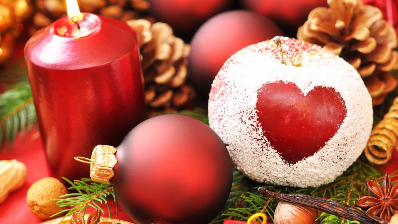 new year needles christmas candle apple powder holiday heart balls cones