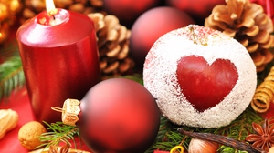 Preview wallpaper apple powder, balls, candle, christmas, cones, heart, holiday, needles, new year