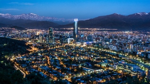Preview wallpaper chile, cities, lights, mountains, night city