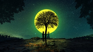 Preview wallpaper love, night, silhouettes, tree