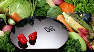Preview wallpaper leaf, peppers, plate, vegetables, zucchini
