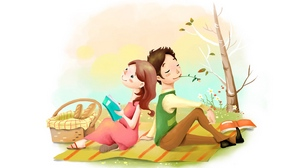 Preview wallpaper bread, dreamy, flowers, girl, guy, lawn, picnic basket, picture, positive