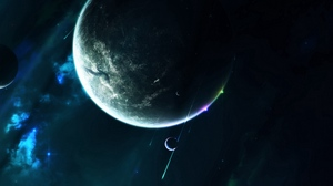 Preview wallpaper galaxy, open space, planet, satellite, space, stars, universe