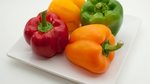 Preview wallpaper multi-colored, pepper, plate, vegetables