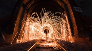 Preview wallpaper light, long exposure, rails, sparks, tunnel