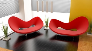 Preview wallpaper apartment, design, form, interior design, plants, red chair, room, style