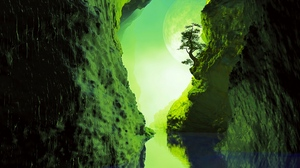 Preview wallpaper cave, green, reflection, river, tree