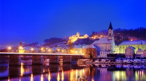 Preview wallpaper city, germany, lights, night, river
