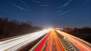 Preview wallpaper backlight, long exposure, motion, night, road, starry sky
