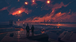 Preview wallpaper art, clouds, couple, love, night, romance