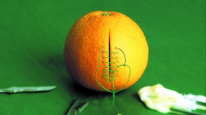 Preview wallpaper cutting, green background, orange, sewing, stitching