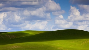 Preview wallpaper clouds, green, hills, shadow, sky