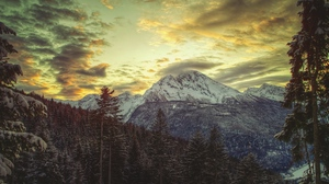 Preview wallpaper clouds, colors, dullness, light, mountain, pines, shadows, sky, snow-covered, top