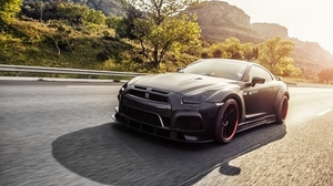 Preview wallpaper gt-r, motion, nissan, r35, side view