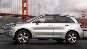 Preview wallpaper acura, bridge, cars, nature, rdx, side view, silver metallic, sky, style