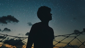 Preview wallpaper loneliness, silhouette, starry sky