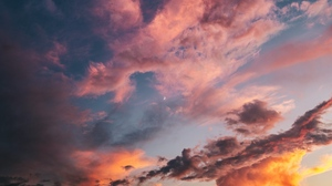 Preview wallpaper clouds, dawn, porous, sky, sunset