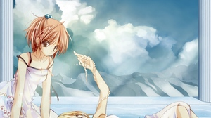 Preview wallpaper beads, girls, posture, relaxation, sky, water