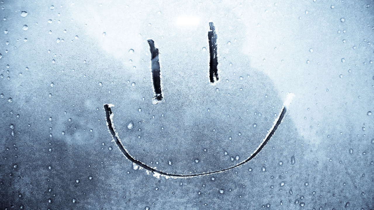 smile drawing on glass happiness