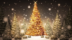 Preview wallpaper card, christmas, holiday, new year, night, snow, trees, wood