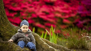 Preview wallpaper baby, clothing, sit, tree