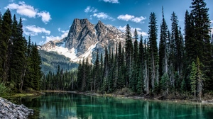 Preview wallpaper mountain, nature, river, shore, trees