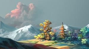 Preview wallpaper art, forest, mountains, sky, trees