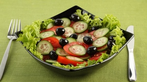 Preview wallpaper cucumbers, olives, salad, tomatoes, vegetable