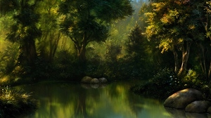 Preview wallpaper art, forest, pond, trees, water