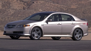Preview wallpaper 2004, acura, asphalt, cars, mountains, side view, silver metallic, style, tl