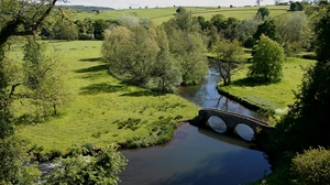 Preview wallpaper arches, bridge, glade, height, meadows, stone, trees