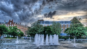 Preview wallpaper baden, buildings, cloudy, fountain, sky, wurttemberg